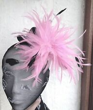 baby pink feather black mini top hat fascinator headpiece fancy dress hair clip
