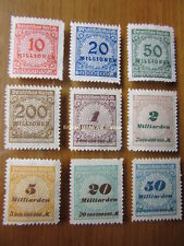 EBS Germany 1923 Inflation Numeral in Rosette (I) Michel 318B-330B MNH**