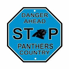 NFL Carolina Panthers Stop Sign Room Bar Decor NEW 12 x 12