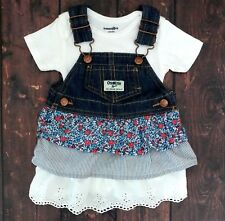 OshKosh Overall Denim Tier Ruffles Jumper Dress Floral Stripes & Lace ~ 6 Months
