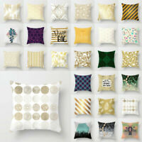 Polyester Gold Shining Pillow Case Printed Sofa Cushion Cover Home Decor 18''