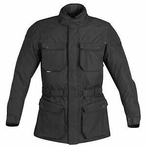 Mens Motorbike Motorcycle Waterproof Cordura Textile Long Jacket Armoured Black