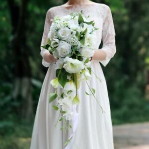 Waterfall Wedding Holding Bouquet Artificial Roses Cascade Bridal Bouquet