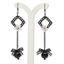 Crystal Rhinestone Glass Bead Black Ribbon Chain Dangle Pierced Hook Earrings