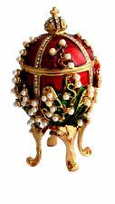 """Copie oeuf Fabergé rouge -Boite - """" Le Muguet"""""""