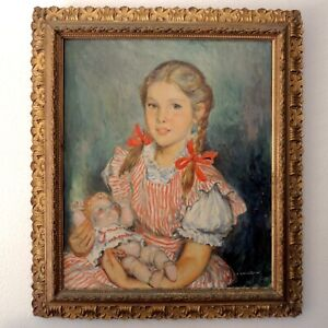 1950s Eliasz Kanarek Portrait of Young Girl Listed Polish American Artist Elias