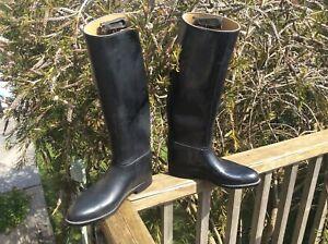 Aigle Riding Boots Samur Cree size UK 8 eu 42 In Black Rubber Leather inner rim