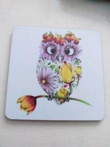 Floral art Owl  Drinks Mat Coaster