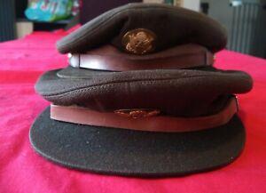 2 x vintage U.S. ARMY OFFICER'S HATS CAP WITH CAP BADGES KHAKI CAPS