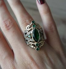 TURKISH HANDMADE STERLING SILVER 925K AND BRONZ EMERALD RING SIZE 8