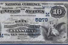 IL  1882 $10 DATE BACK  ♚♚EVANSTON, ILLINOIS ♚♚  PMG VF 25