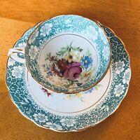 Vtg. Rosina Footed 4871 Bone China Teacup & Saucer Teal & Floral Made in England