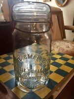 Scarce Antique Fruit Jar Emb. The Smalley Self Sealer Wide Mouth Boston Ma.