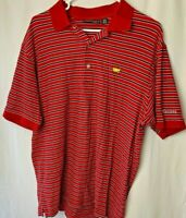 Mens Masters Collection Augusta Red Blue White Striped Polo Shirt Size Large