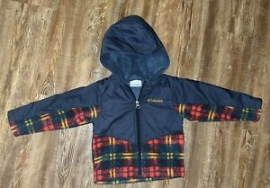 Columbia Sportswear infant boys navy blue and plaid hooded jacket size 2T