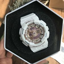 NEW Baby-G Women's Watch Rose Gold Dial White Resin Strap Chrono Watch BA110-7A1