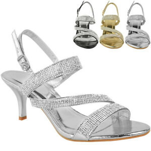 """Womens Diamante Wedding Sandals Mid Heel Prom Bridal Comfy Glitter Shoes Size """""""