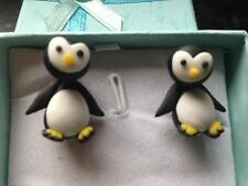 CUTE HAND MADE POLYMER CLAY 3D PENGUIN EARINGS HIGH QUALITY GIFT BOXED.