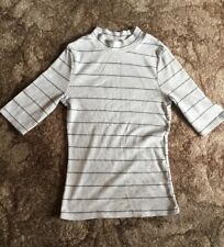 Ladies New Look Cream And Black Striped Short Sleeve Jumper Size 8 VGC