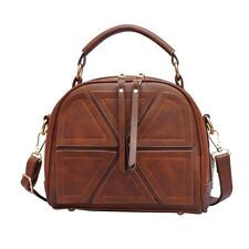 Cute Shoulder Crossbody Bag with Geometrical Applique  Brown Korean Style