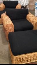 Ralph Lauren Rattan Chair With Black Upholstery, Pair Available