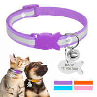Breakaway Personalized Dog Cat Collar Reflective Kitten Engraved Tag Custom Bell