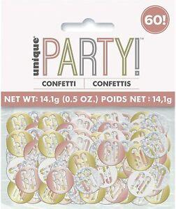 UNIQUE - ROSE GOLD AND SILVER AGE 60 - 60TH BIRTHDAY TABLETOP CONFETTI - 14G