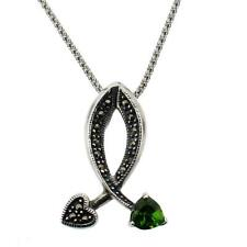 Sterling Silver Marcasite Pendant Vintage Style with Green CZ Heart