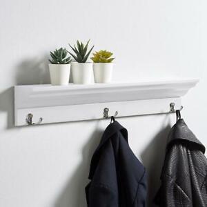 White Wooden Wall Mounted Coat Rack 3 Hooks Hallway Hanging Storage Shelf