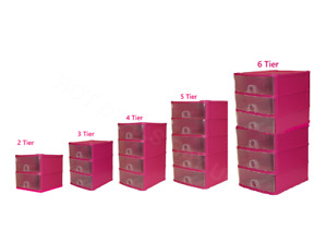 Handy 2,3,4,5,6 Tier Plastic Drawers Storage Unit  Tower Chest Drawer Tidy Rack