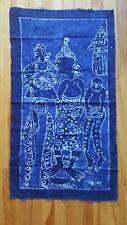 "Batik Signed Yemi Fabric Panel 19"" x 34"" Blues Ethnic Wall Art Garments"