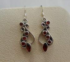 Sterling Silver & Garnet Drop Earrings Substancial Handmade in India