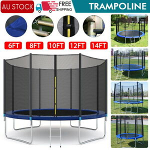 AU Round Trampoline With Safety Net Enclosure Spring Pad Cover & Ladder 8-16 ft