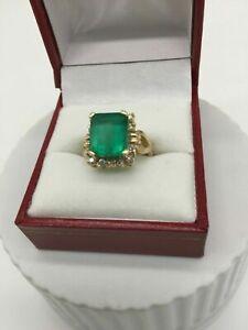3.00 Ct Emerald & Diamond Halo Engagement Wedding Ring 14K Yellow Gold Over