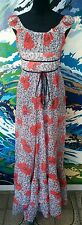 ST TROPEZ 1970s Dress - Floral Vintage Retro Maxi Peasant - White Grey Red - 10