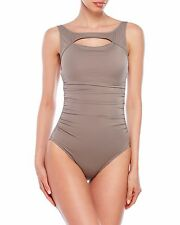 NEW MAGICSUIT MIRACLESUIT Fiona SWIMSUIT 14 44 Cutout Underwire 1 PC Tan Taupe