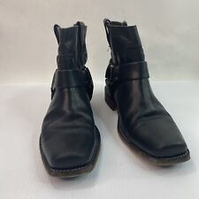 Silver Ring Square Toe Moto Western Frye Boots Sz 6.5 Harness Black Leather