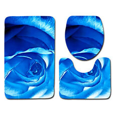 LE 3PCS/Set Beautiful Blue Rose Bathroom Non-Slip Rug+Lid Toilet Cover+Bath Mat