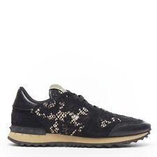 VALENTINO Rockstud Rockrunner black pink floral lace stud leather sneaker EU39