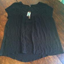 NEW Women's Black Magic NICOLE MILLER Crotchet Front Boho Blouse Size Large L