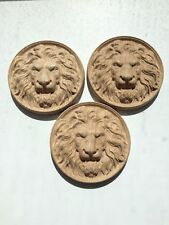 Carved Wooden Lion's Head Unpainted set of 3 pieces, 100х100х20 mm,wood, oak