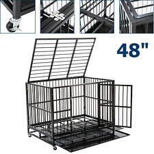 """New listing Large 48"""" Dog Crate Kennel Metal Pet Cage Playpen House w/ Tray&Wheel Heavy Duty"""