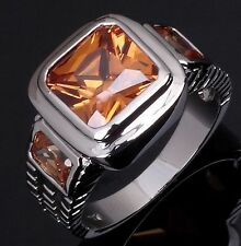 Princess Cut Size 11 Mens Nobby Solitaire Topaz 18K Gold Filled Anniversary Ring
