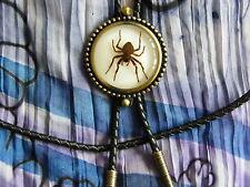 Nuevo GHOST SPIDER BOLO Tie Cable De Cuero Real De Metal Oro Antiguo Western, goth