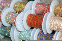 ss6 colour rhinestone close trim chain silver/golden bras crafts sew on 10 yard
