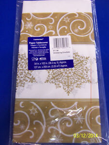 Shimmering Snowflake Gold Winter Christmas Holiday Party Paper Tablecover