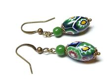 bead earrings - match 1930s necklaces Vintage Art Deco Venetian Millefiori glass