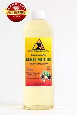 KUKUI NUT OIL ORGANIC by H&B Oils Center COLD PRESSED PREMIUM 100% PURE 16 OZ