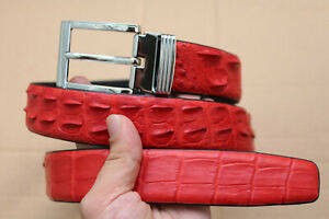 Red Genuine Crocodile Leather Skin Men's Belt No-Jointed W 3.4 cm