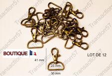 12 Mousqueton Fermoir Boucle Anneau pour sangle bretelle 25mm Métal Bronze